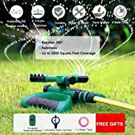 Lawn Sprinkler Automatic Sprinklers For Garden Water Sprinklers For Lawns 360 Rotating Adjustable Lawn Irrigation System Watering Sprinkler for Kids Covering Large Area Leak Design Durable 3 Arm
