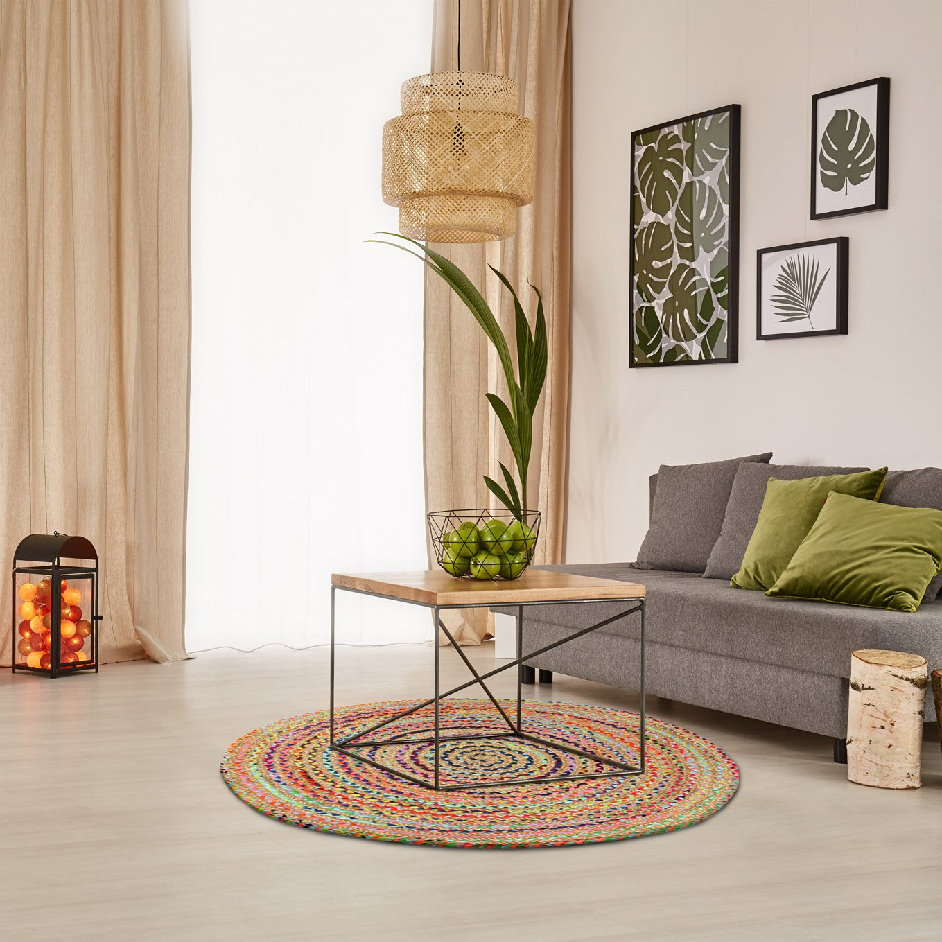 Green Decore Handmade Braided Round Natural Fiber Jute Rug (Fusion Multicolor, 8 feet Diameter)