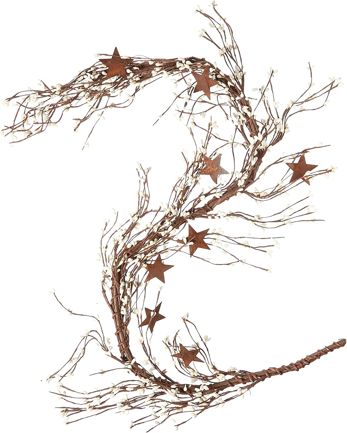 CWI Gifts Pip Berry and Star Garland, 40-Inch, Ivory Vanilla (FT2979IA)