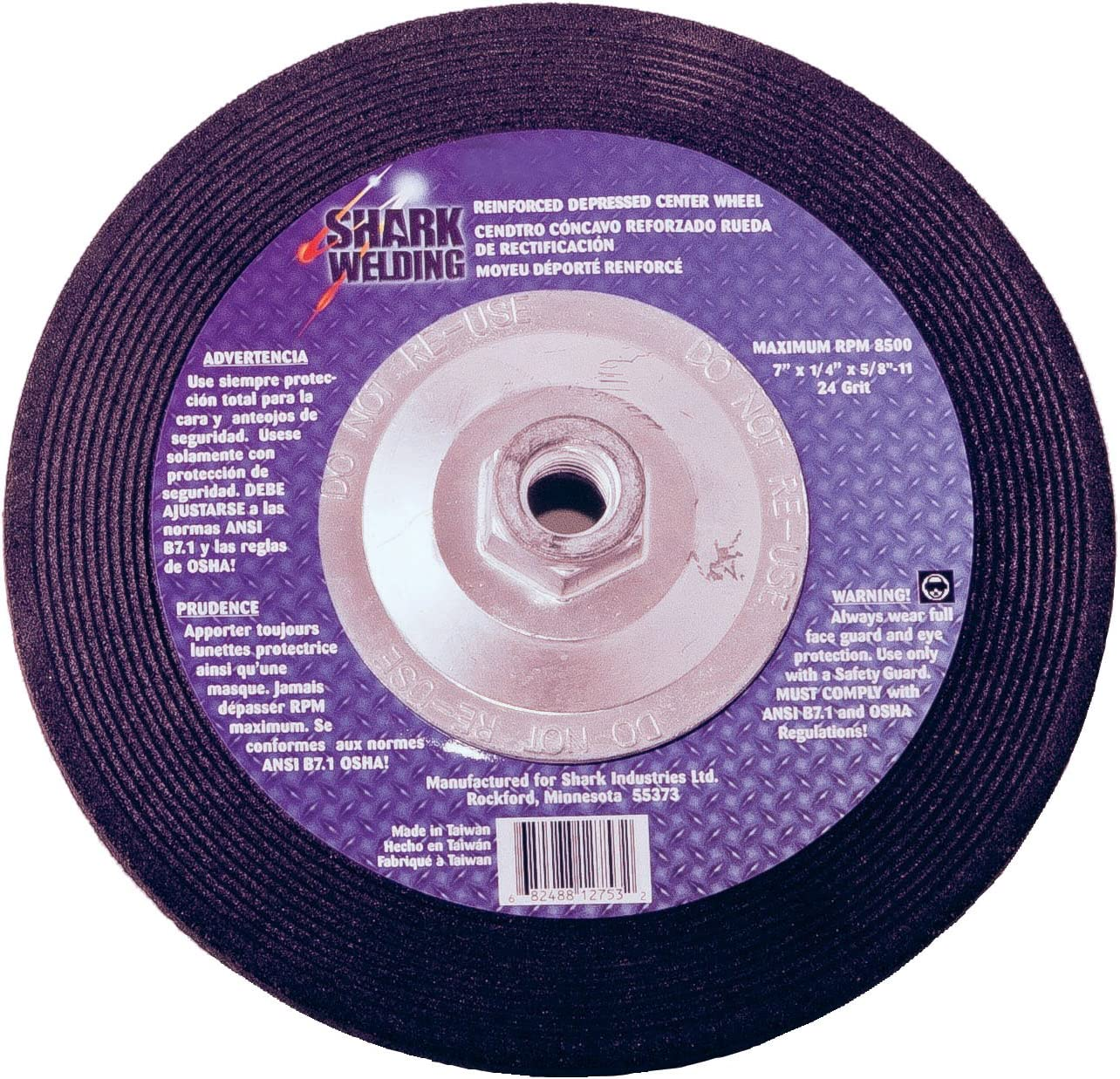 25-Pack Shark 12745    4.5-Inch by 0.25-Inch by 0.875-Inch Hubless Masonry Grinding Wheel with Type 27