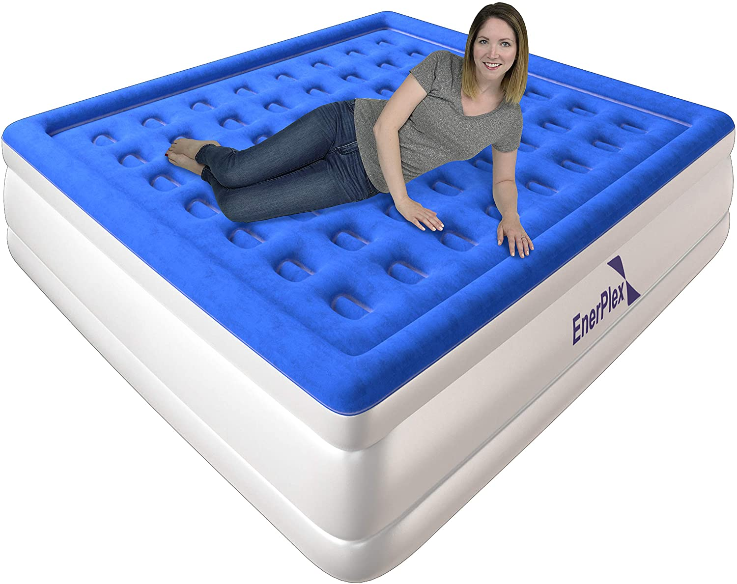 Best Choice RAISED Inflatable Bed with Fitted Sheet and Air Mattress KING size