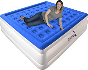 EnerPlex Premium 2019 Upgraded Dual Pump Luxury King Size Air Mattress Airbed with Built in Pump Raised Double High King Blow Up Bed for Home Camping Travel 2-Year Warranty
