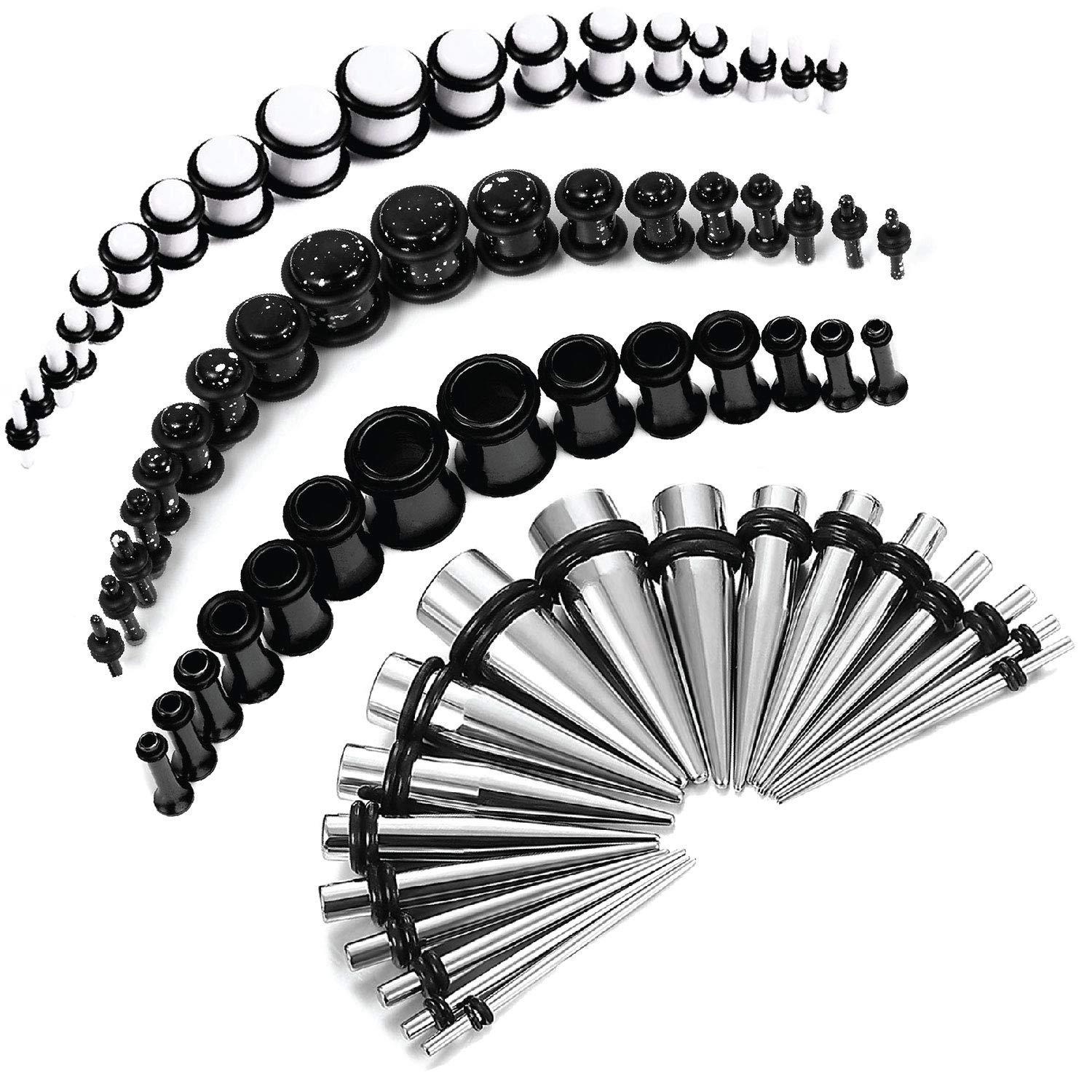 BodyJ4You 72PC Gauges Kit White Splatter Acrylic Plugs Black Steel Tapers 14G-00G Stretching Set by BodyJ4You