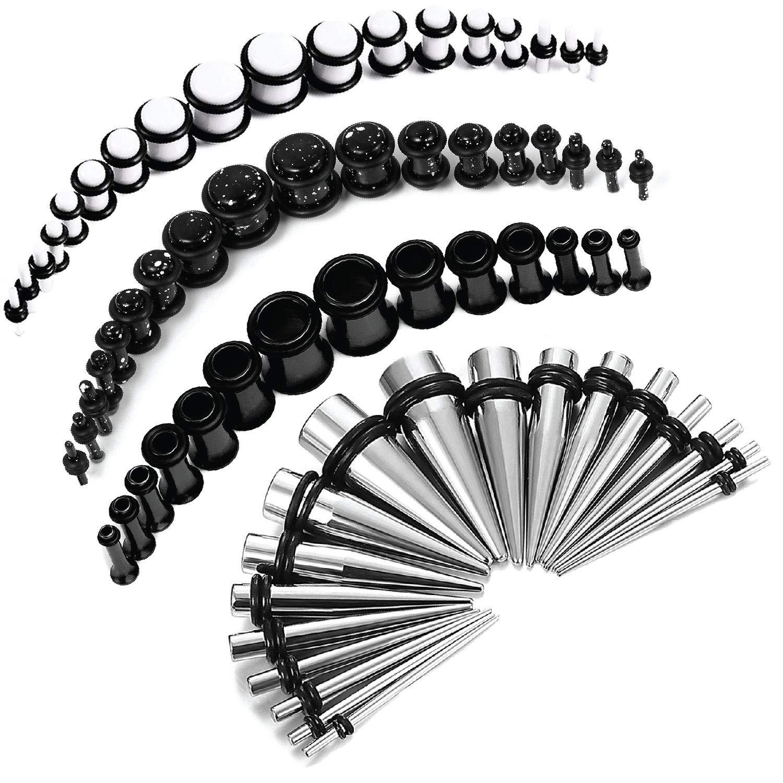 BodyJ4You 72PC Gauges Kit White Splatter Paint Acrylic Plugs Black Steel Tapers 14G-00G Stretching Set