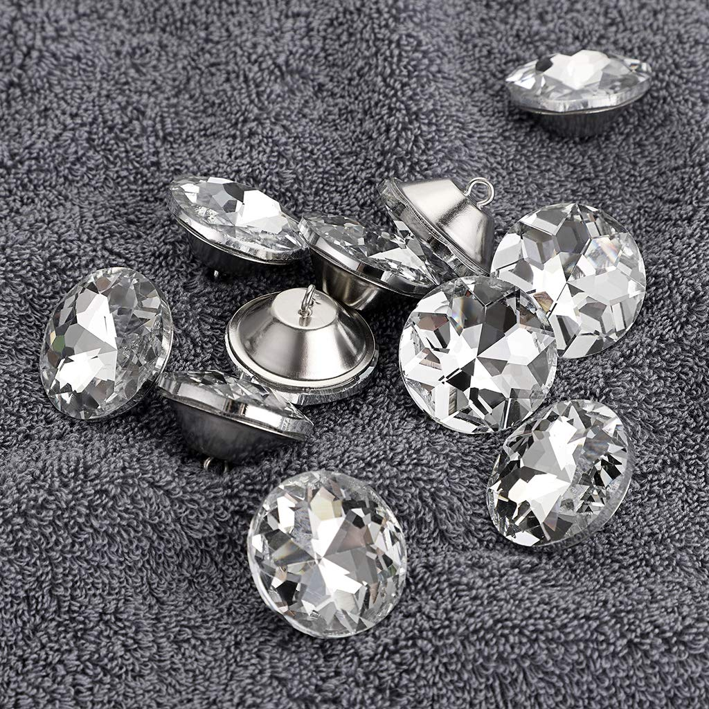 OwnMy 50 PCS 16mm Rhinestone Crystal Buttons Clear Tufting Buttons Upholstery Buttons with Metal Loop Buttons for Sewing Sofa Bed Headboard DIY Crafts Decoration 16MM x 50 PCS
