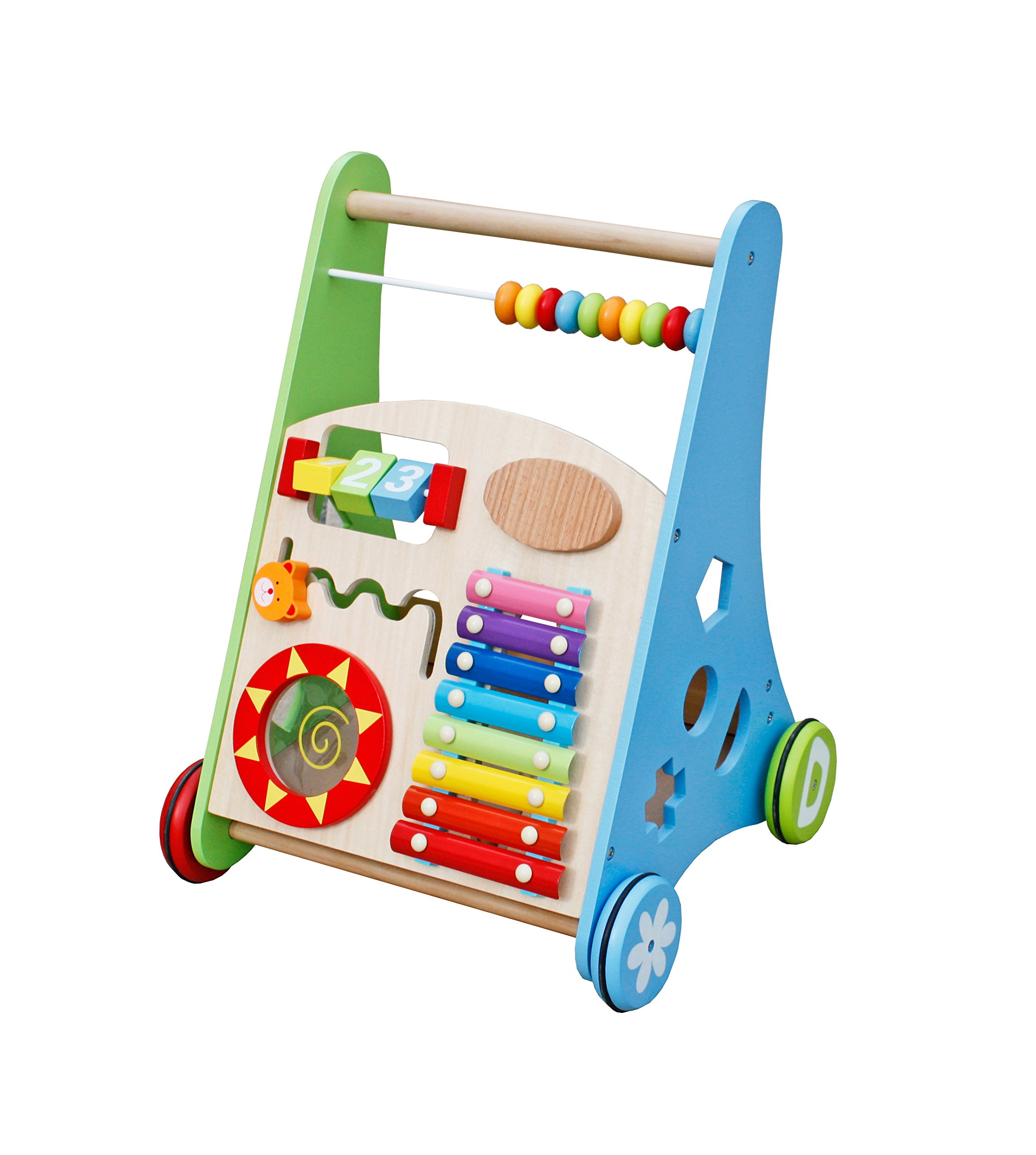 Pidoko Kids Block and Roll Cart - Wooden Push and Pull Baby Walker with Multiple Activity Centre by Pidoko Kids (Image #2)