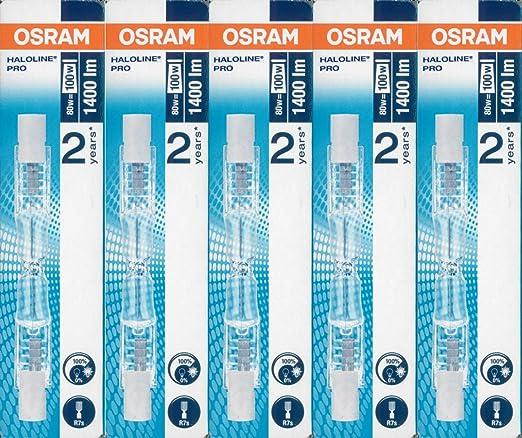 19 opinioni per 5x Osram lampada alogena Haloline Pro, 78mm, R7s, 230V, 80W, 64690