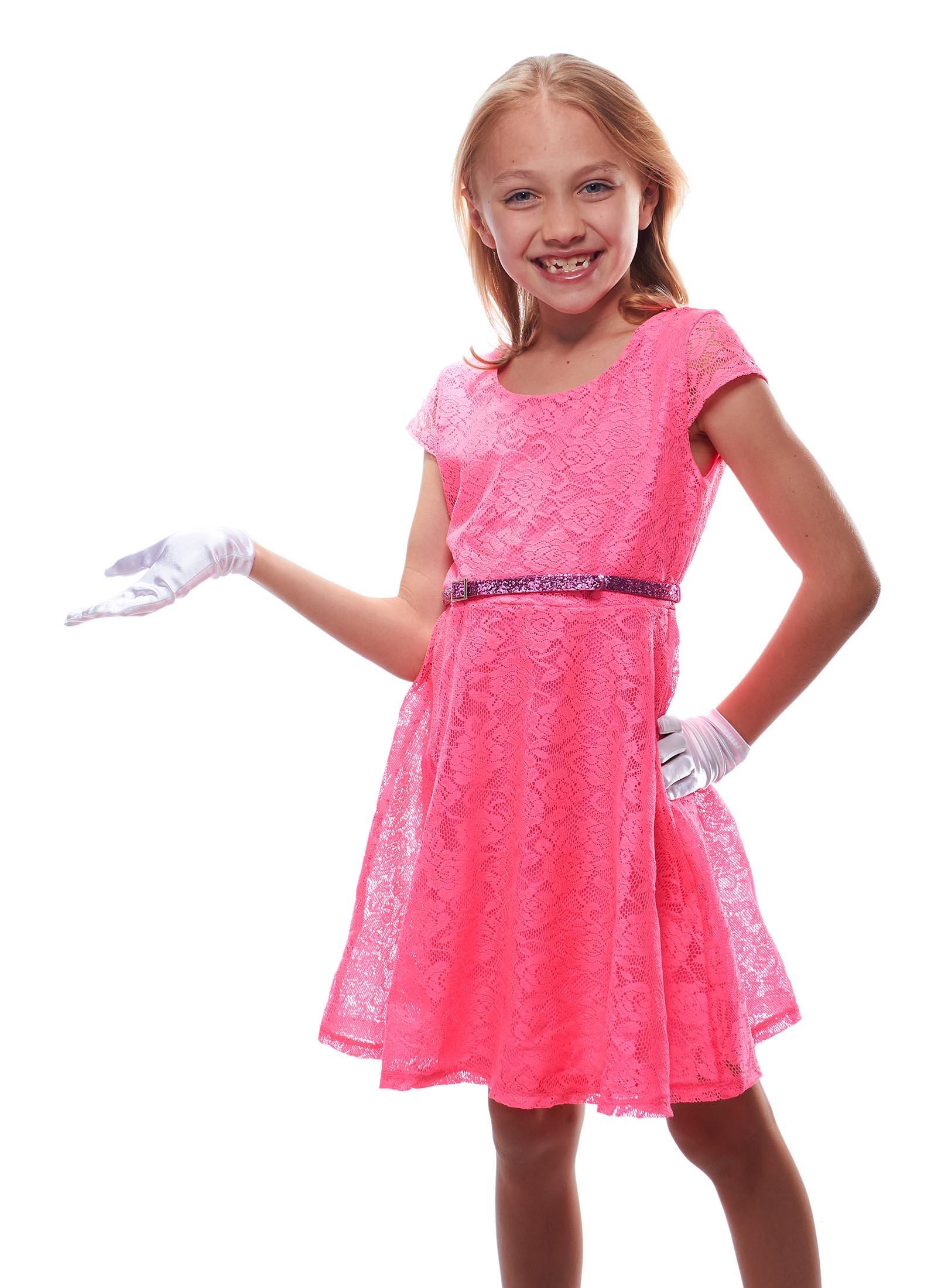 Elegant Ingenue Girl's Satin Wrist Length Gloves (White, Age 13-15)