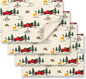 Cackleberry Home Christmas Red Farm Truck Placemats 13 x 19 Inches Cotton Reversible, Set of 4