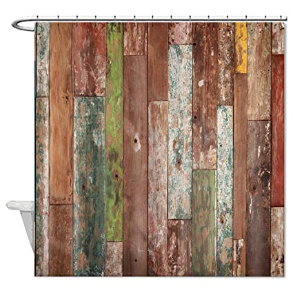 Missy Polyester Wood Shower Curtain Rustic Old Colorful Barn Bathroom Waterproof 72quot