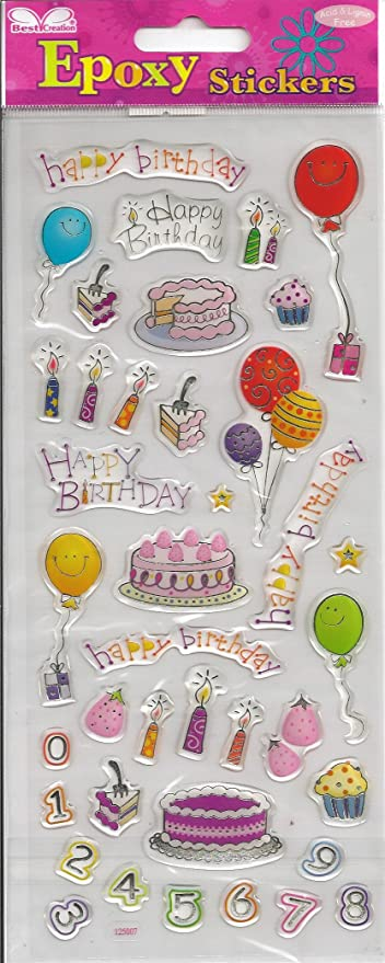 Amazon.com: Feliz cumpleaños epoxi pegatinas de Recortes ...