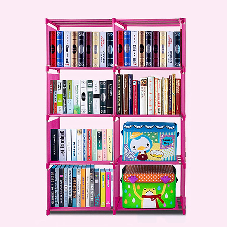 Cosway Kids Plastic Bookshelf Portable 4 Shelf Multifunctional Bookcase Adjustable Heights[US Stock] (Blue)