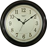 Rikon Silent Plastic Round Shape 36 cm X 36 cm with Embossed Numbers Fancy Premium Home Decor Wall Clock (Brown Ivory) For Home And Office