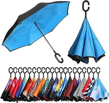 Umgedrehter Regenschirm Schirm innovativ und praktisch 5 Farben zur Auswahl NEU