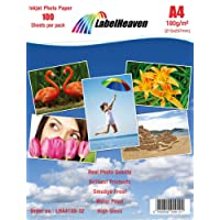 LabelHeaven Fotopapier A4 180g/qm hochglänzend wasserfest, 100 Blatt