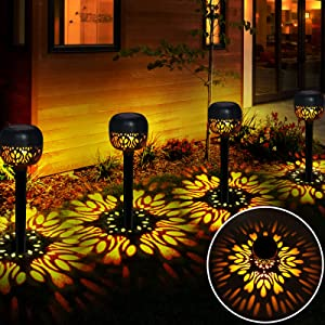 Solar Garden Lights Decorative Outdoor, MinSoHi Solar Pathway Lights Outdoor LED Auto On/Off Waterproof IP65 Landscape Lighting Path Lights Warm White for Patio, Lawn, Yard, Landscape (4 Pack)