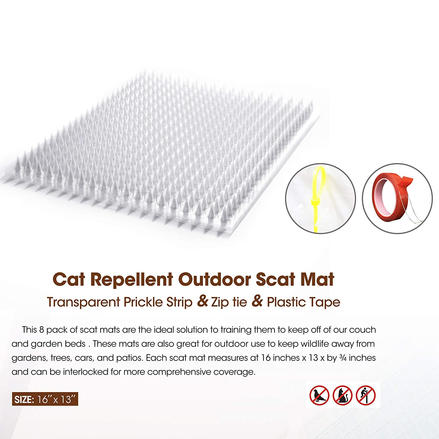 Amazon.com: Zipcase Cat Repellent/Deterrent Outdoor Scat Mat ...