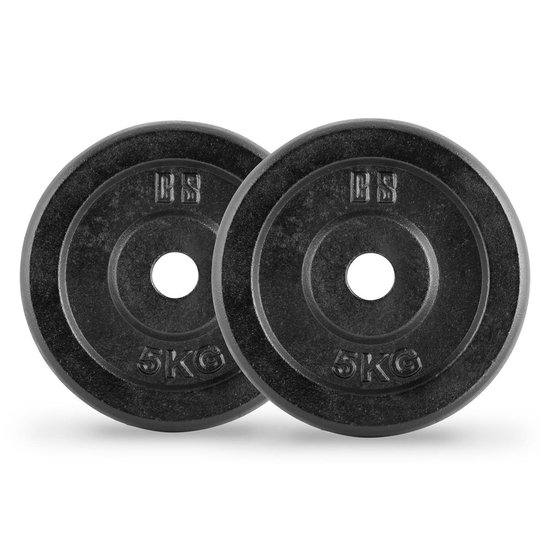 Capital Sports IPB 30 Kg Set juego de discos para mancuerna gimnasio (pesas de 2x5kg y 2x10kg, orificio de 30 mm, película protectora) - negro: Amazon.es: ...