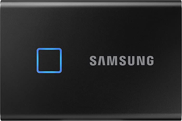 SAMSUNG T7 Touch Portable SSD 2TB - Up to 1050MB/s - USB 3.2 External Solid State Drive, Black (MU-PC2T0K/WW)