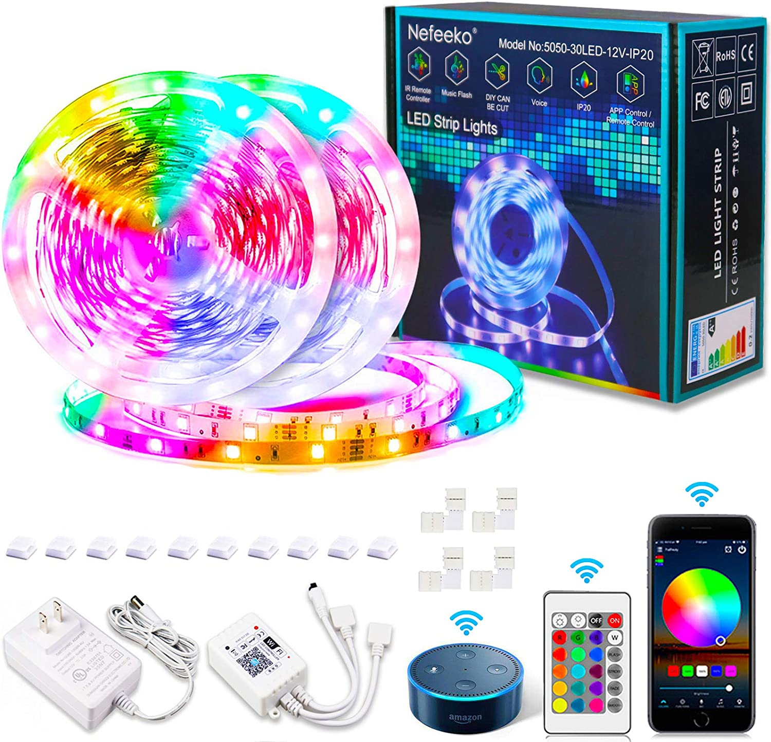 Nefeeko Led Strip Lights, 32.8ft Smart Led Lights with APP WIFI Voice IR Remote Control, RGB Color Changing SMD5050 300 LED Lights DIY Kit for Bedroom Decoration, Work with Alexa, Google Assistant (C)