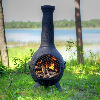 Lovely The Blue Rooster Co. Orchid Style Cast Aluminum Wood Burning Chiminea In  Charcoal.