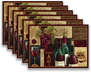Blissful Living Set of 6 Placemats, Stain Resistant - Decorate Your Kitchen Table with Our Beautiful Rectangle pad placemat (Red Wine Patchwork)