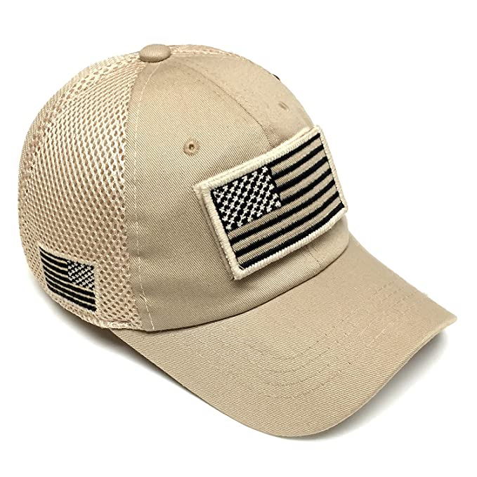 291a08f1a55 Image Unavailable. Image not available for. Color  Vintage Cotton Cap USA  Flag Patch Trucker Mesh Khaki Baseball Hat Dad ...