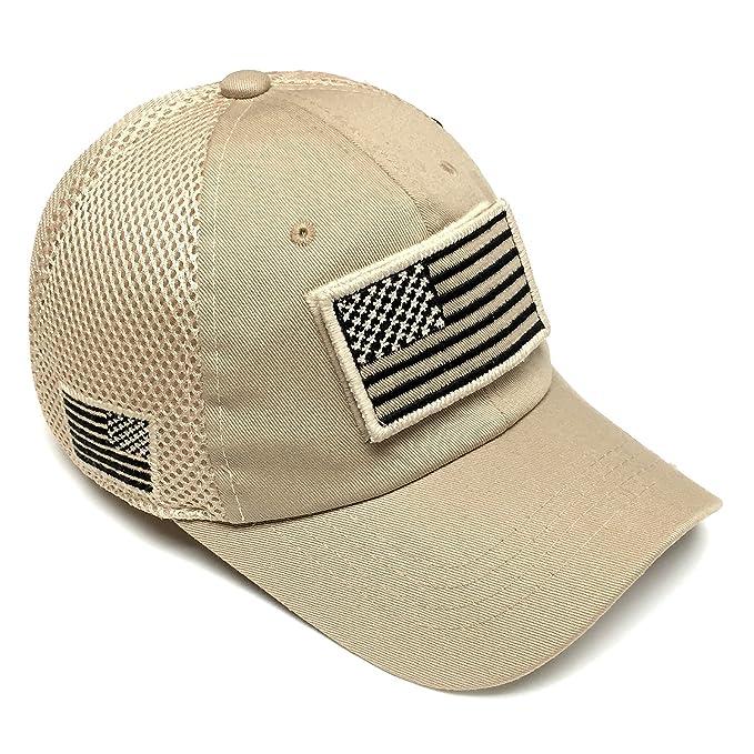 4c6e532e5c5 Vintage Cotton Cap USA Flag Patch Trucker Mesh Khaki Baseball Hat ...