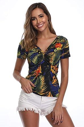 1640f4538a6 MISS MOLY Women's Leopard Print Hawaiian V Neck Off Shoulder Tops ...