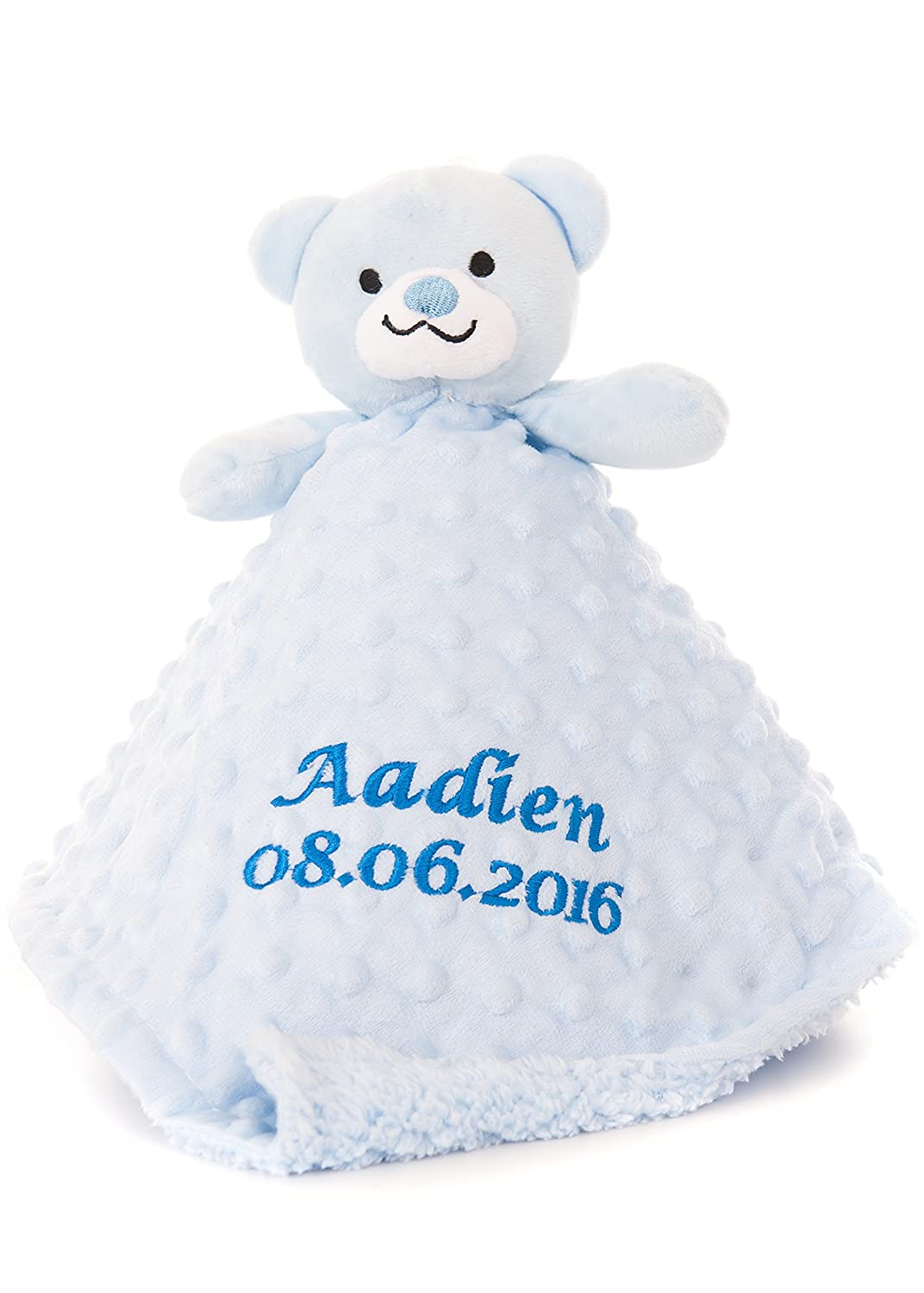 Personalised Embroidered Boy's Baby Comforter Toy Teddy Gift Hoolaroo 5060242507939