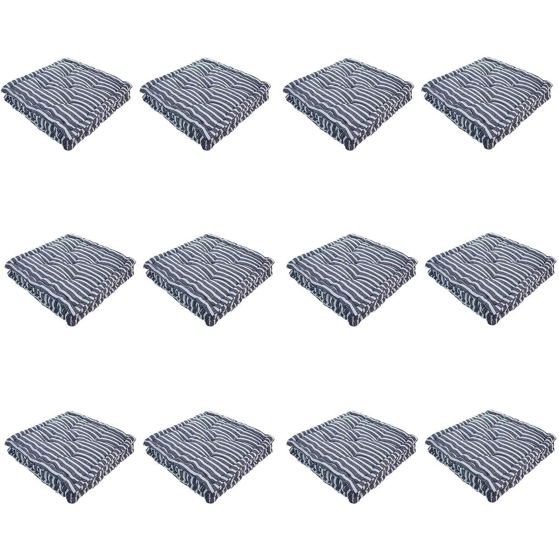 Nicola Frühling Platz Padded Französisch Matratze Stuhl Kissen Sitzkissen - Blaue Streifen - Packung mit 12