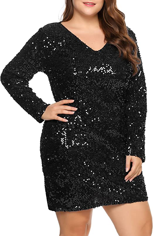 Womens Sequin Dress Plus Size V Neck Party Cocktail Sparkle