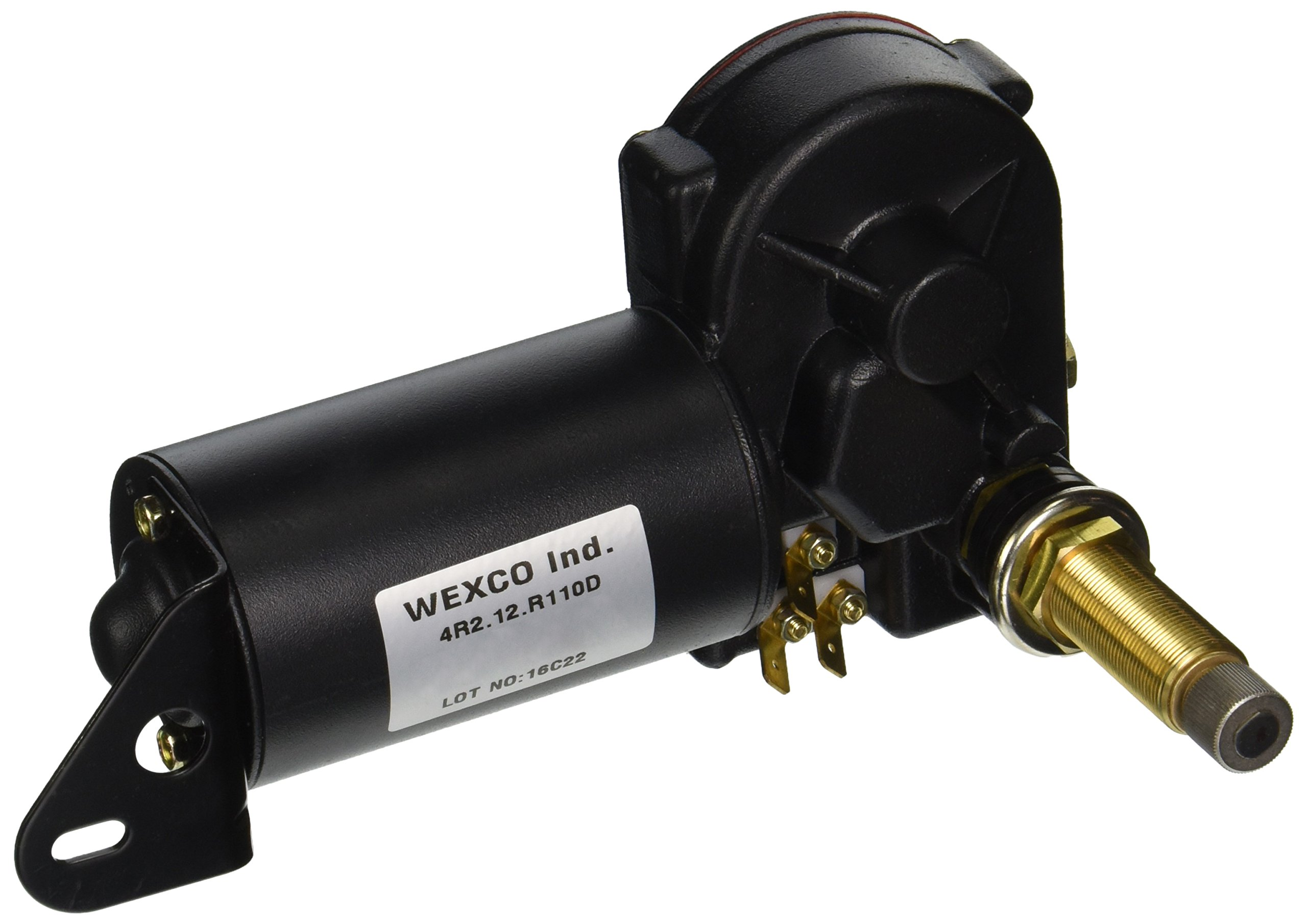 Wexco 4R Wiper Motor-4R2.12.R110D 2.5'' Shaft, 12 Volts 3 spade wiring terminals (black) by Wexco