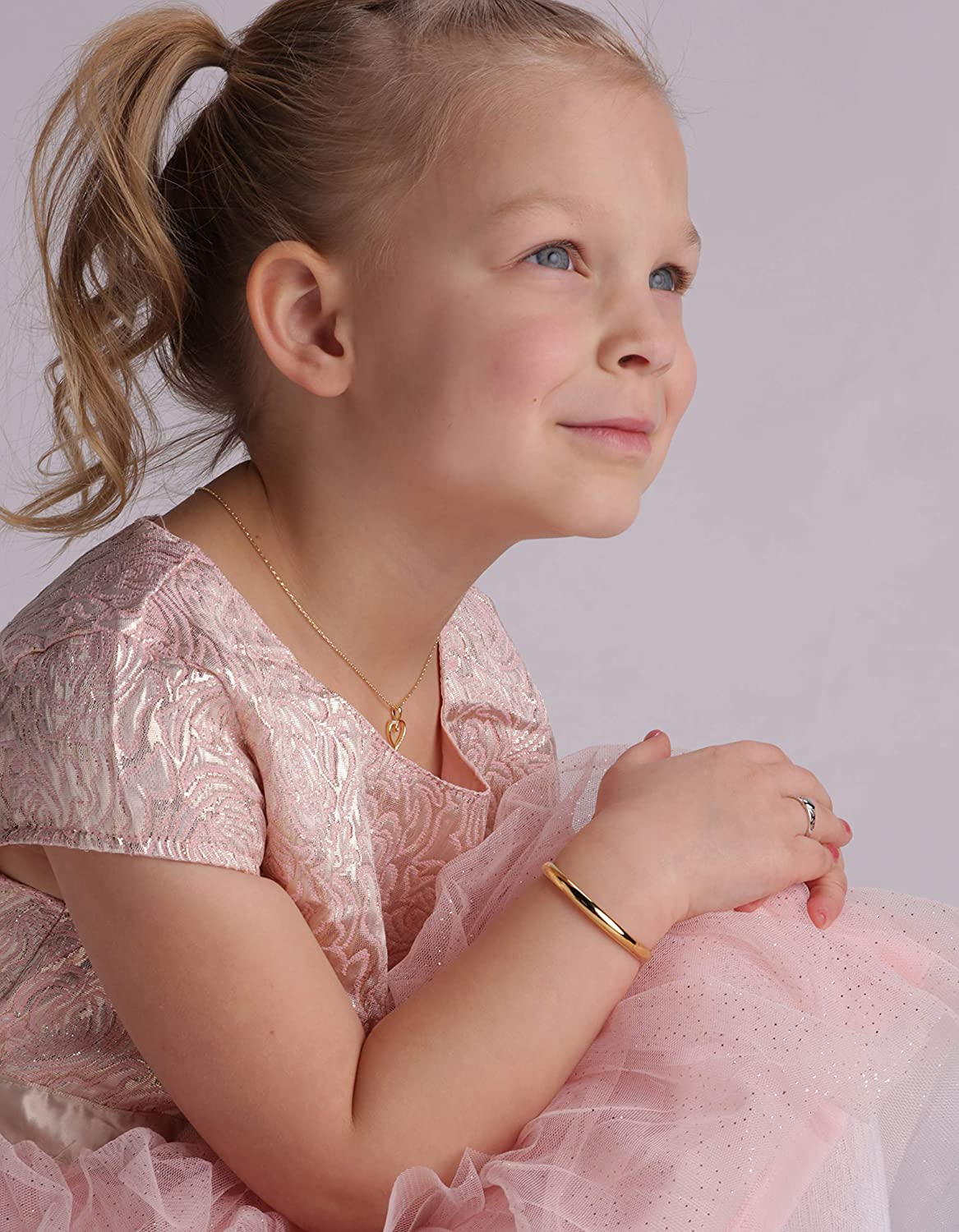 Personalized 14K Gold-Plated or Sterling Silver Baby Bangle Bracelet for Girls
