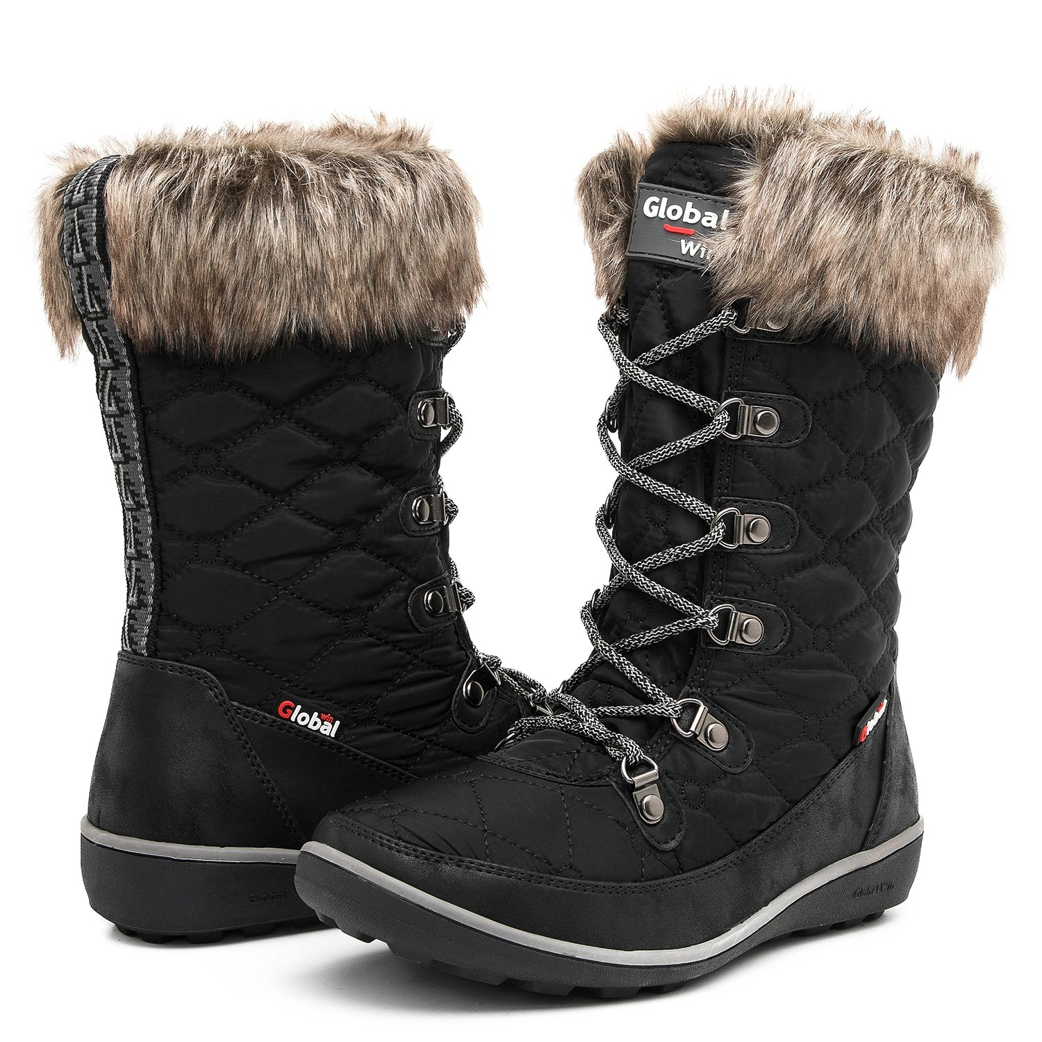 Globalwin Women's 1731 Winter Waterproof Snow Boots (10 D(M) US Women's, 1731Black)