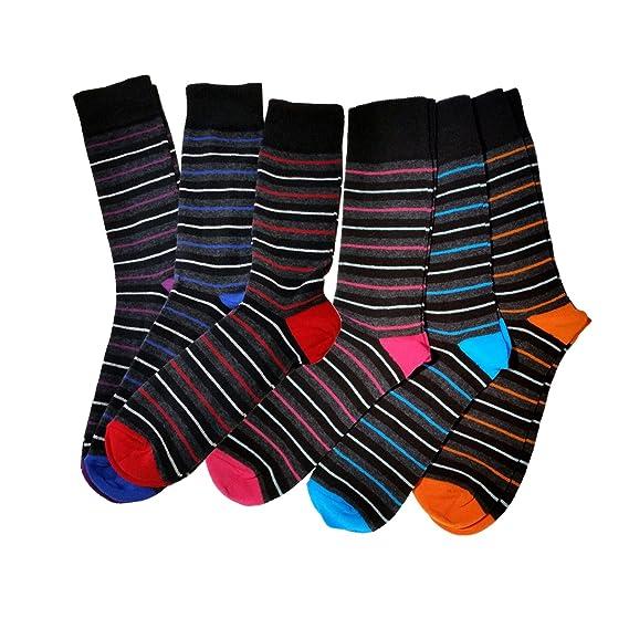 6 Pares para Hombre Trendy Calcetines De Rayas - ricos en algodón Tela para Higher Cómodo