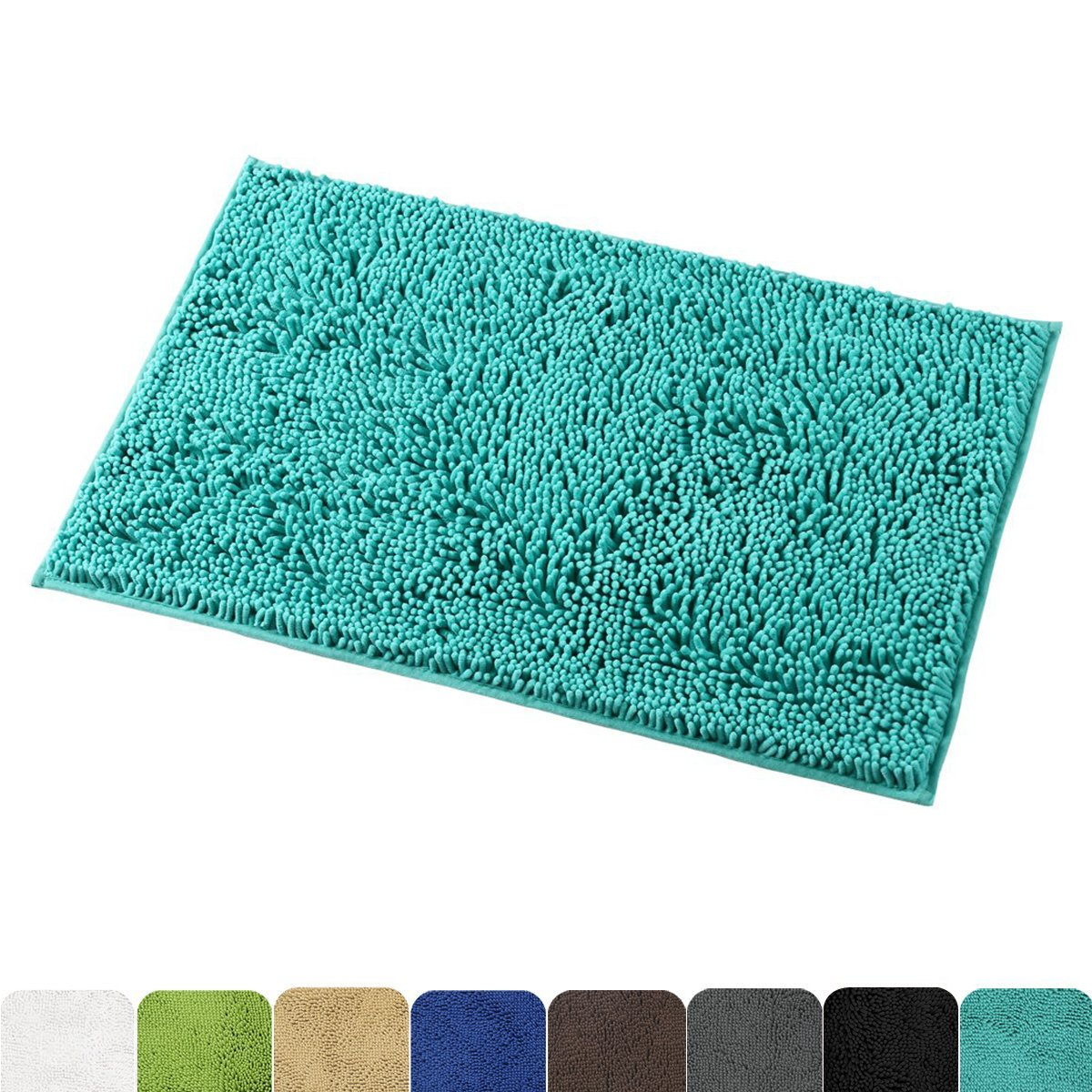 Mayshine Non-Slip Bathroom Rug Shag Shower Mat Machine-Washable Bath Mats with Water Absorbent Soft Microfibers, 20'' W x 32'' L, Turquoise