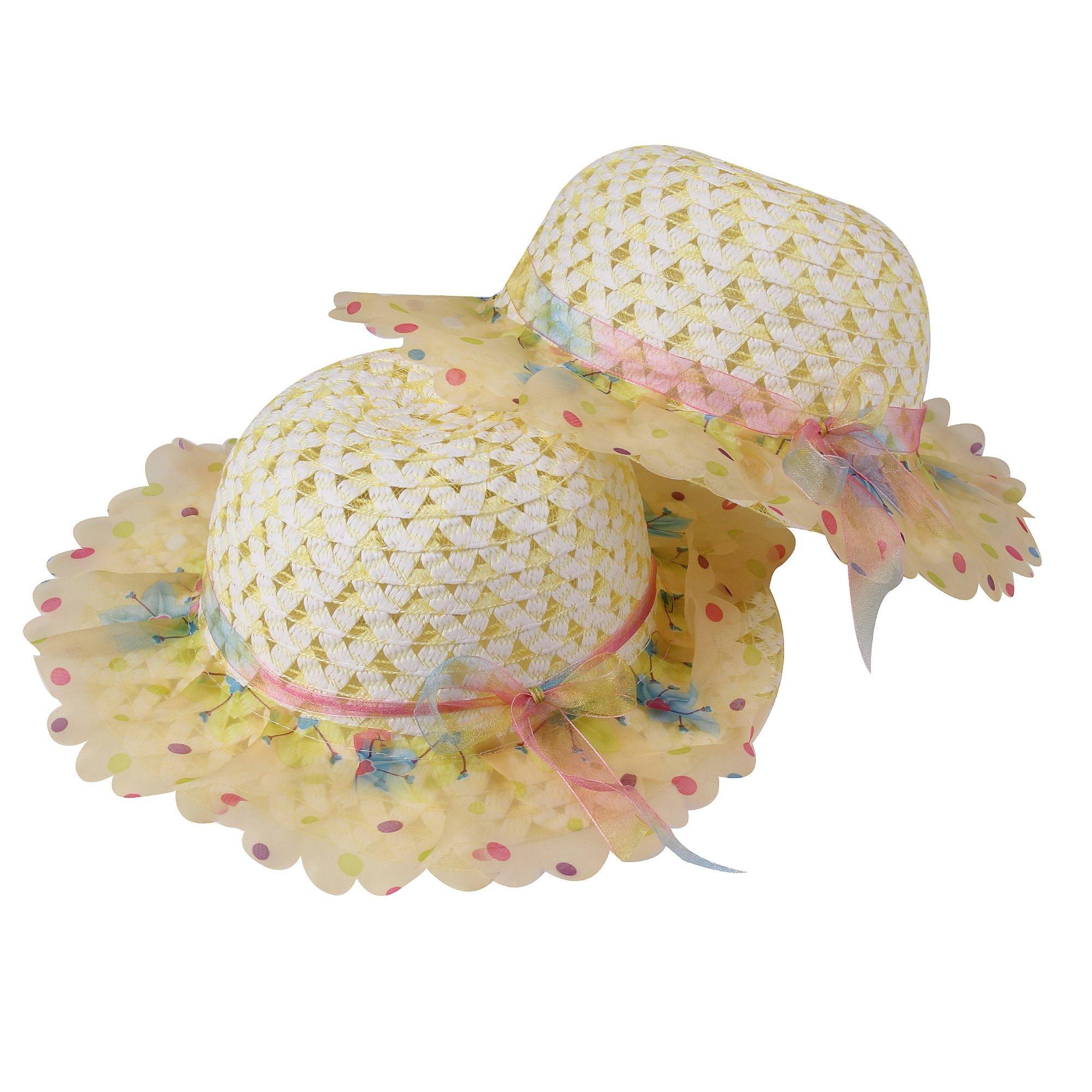 JIAKAI Girls Sunflower Straw Tea Party Hat Set (8 Pcs, Assorted Colors) by JIAKAI