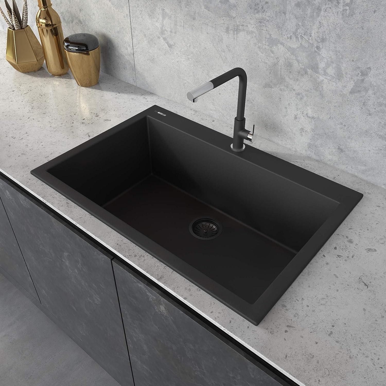 Ruvati 33 x 22 inch epiGranite Dual-Mount Granite Composite Single Bowl Kitchen Sink - Midnight Black - RVG1080BK