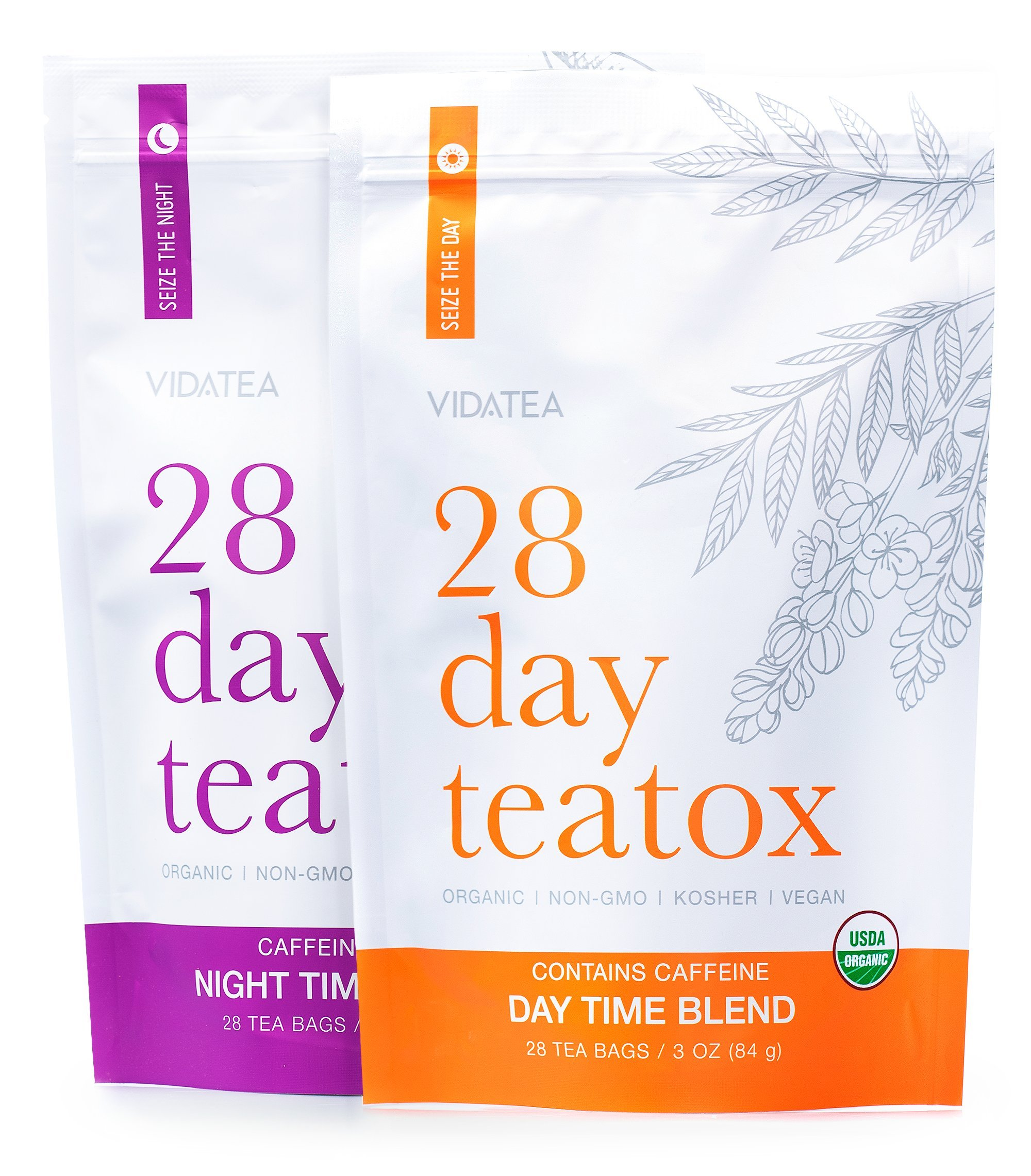 28 Day and Night Detox Tea - Teatox (56 Tea Bags) - Organic All Natural Antioxidant Weight Loss Tea, Herbal Body Detox Cleanse, with Refreshing Taste - Vida Tea
