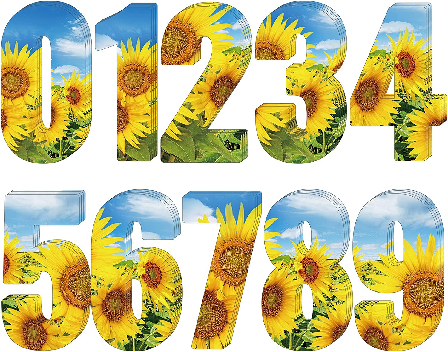 ADXCO 40 Pieces 4 Sheets Wheelie Bin Number Sunflower Sunflower Numbers Stickers Self Adhesive 0-9 Stickers Wheelie Bin Decorative Number Stickers for Home Office Classroom Decoration Supplies
