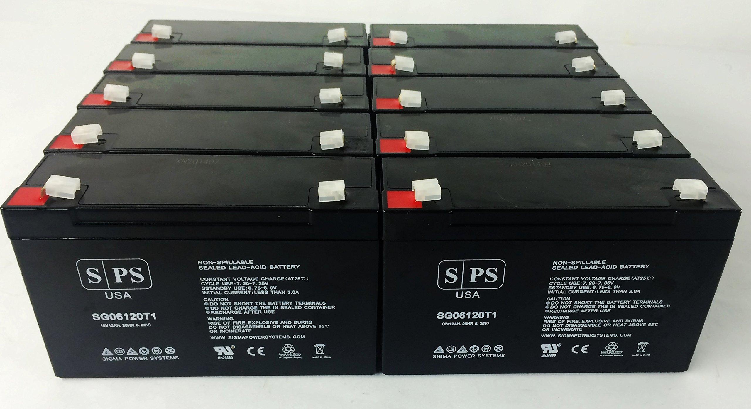 6V 12Ah Ritar RT6120, RT 6120 6V 12Ah UPS Replacement Battery - SPS BRAND (10 Pack)