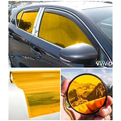 """VViViD Colorful Transparent Vinyl Car Window Tinting 30"""" x 60"""" 2 Roll Pack (Yellow): Home & Kitchen"""
