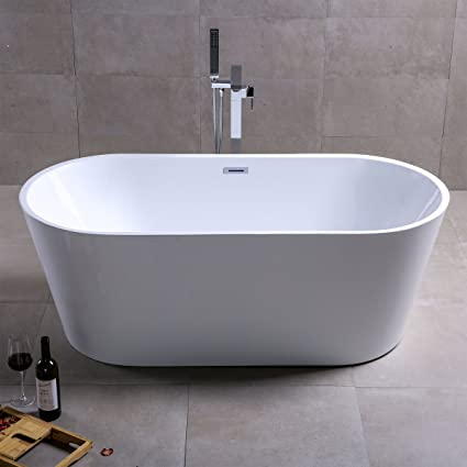 KIVA RHYME 59u0026quot; Freestanding Bathtub, 100% Pure Acrylic Soaking Bath Tub  For Bathroom
