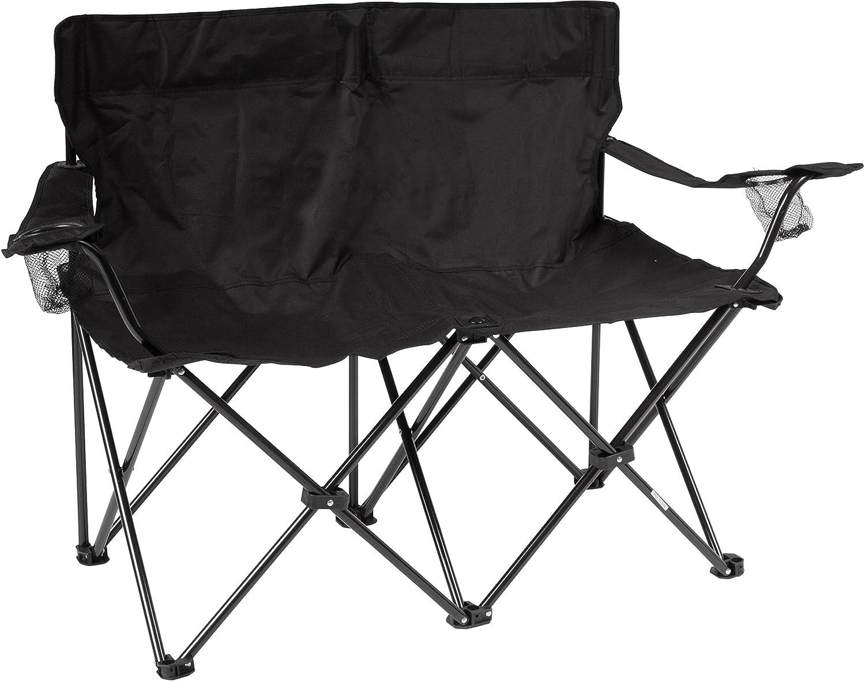 """商標Innovations 31.5 """" HラブシートスタイルダブルCamp Chair withスチールフレーム B00LWBI66G ブラック ブラック"""