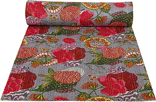 New Kantha Quilt Double Size Bedsheet Handmade Cotton Red Floral Bedspread Throw