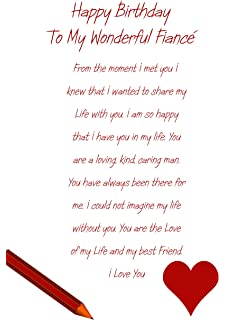 with love to my fiance happy birthday card male with a lovely verse