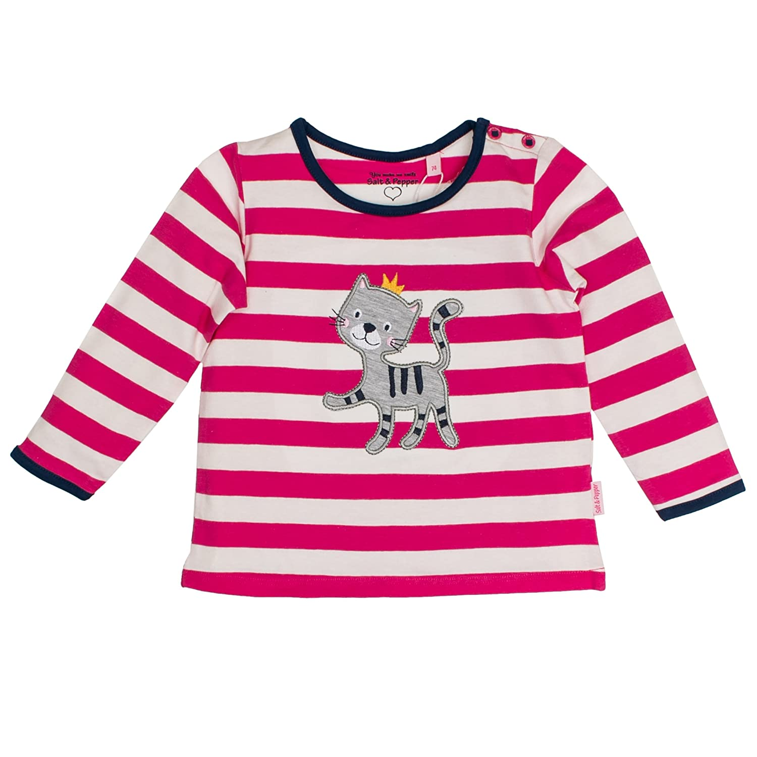 Salt & Pepper Baby Girls' B Happy Stripe Ocs Longsleeve T-Shirt SALT AND PEPPER 85211220