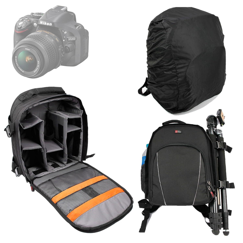 レインカバー付き一眼レフカメラ用Duragadget防水ナイロンリュックサック B007UO0ELY