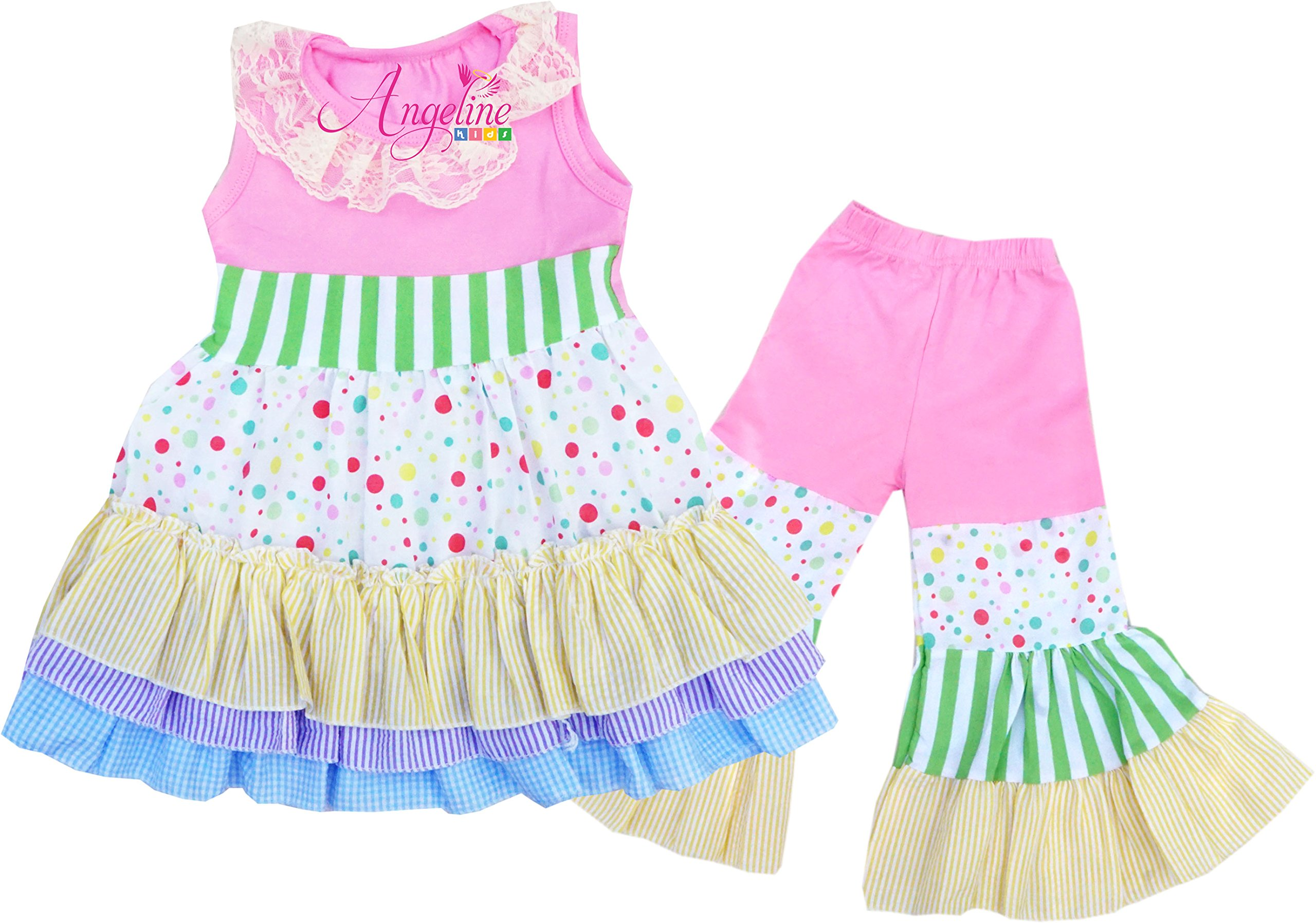 Toddler Little Girls Summer Holiday & Back to School Tiered Ruffles Flare Pant Set 2T